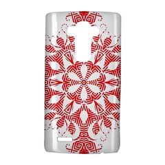 Red Pattern Filigree Snowflake On White Lg G4 Hardshell Case by Amaryn4rt
