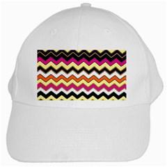 Colorful Chevron Pattern Stripes White Cap by Amaryn4rt