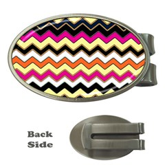 Colorful Chevron Pattern Stripes Money Clips (oval)  by Amaryn4rt