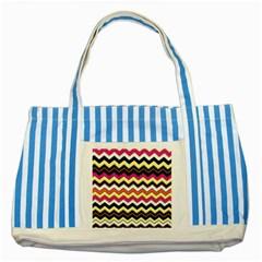 Colorful Chevron Pattern Stripes Striped Blue Tote Bag by Amaryn4rt