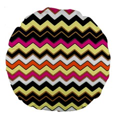 Colorful Chevron Pattern Stripes Large 18  Premium Round Cushions by Amaryn4rt
