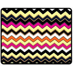 Colorful Chevron Pattern Stripes Double Sided Fleece Blanket (medium)  by Amaryn4rt