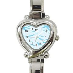Blue Tiger Animal Pattern Digital Heart Italian Charm Watch by Amaryn4rt