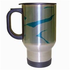 Blue Tiger Animal Pattern Digital Travel Mug (silver Gray) by Amaryn4rt