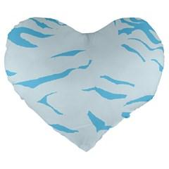 Blue Tiger Animal Pattern Digital Large 19  Premium Flano Heart Shape Cushions by Amaryn4rt