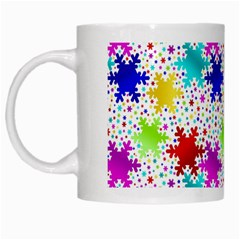 Snowflake Pattern Repeated White Mugs by Amaryn4rt