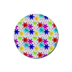 Snowflake Pattern Repeated Rubber Coaster (round)  by Amaryn4rt