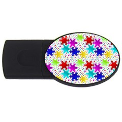 Snowflake Pattern Repeated Usb Flash Drive Oval (2 Gb)
