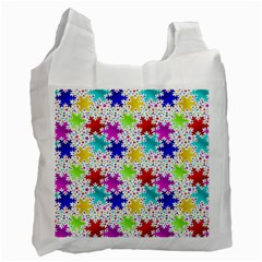 Snowflake Pattern Repeated Recycle Bag (one Side) by Amaryn4rt