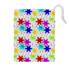 Snowflake Pattern Repeated Drawstring Pouches (extra Large) by Amaryn4rt
