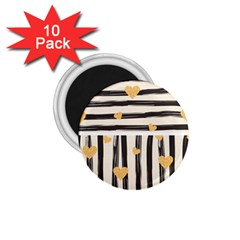 Black Lines And Golden Hearts Pattern 1 75  Magnets (10 Pack)  by TastefulDesigns