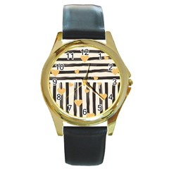 Black Lines And Golden Hearts Pattern Round Gold Metal Watch by TastefulDesigns