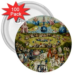 Hieronymus Bosch Garden Of Earthly Delights 3  Buttons (100 Pack)  by MasterpiecesOfArt