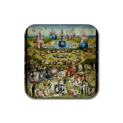 Hieronymus Bosch Garden Of Earthly Delights Rubber Square Coaster (4 Pack)  by MasterpiecesOfArt