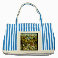 Hieronymus Bosch Garden Of Earthly Delights Striped Blue Tote Bag by MasterpiecesOfArt