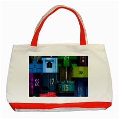 Door Number Pattern Classic Tote Bag (red) by Amaryn4rt