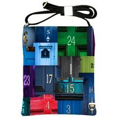Door Number Pattern Shoulder Sling Bags by Amaryn4rt