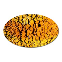 Yellow Chevron Zigzag Pattern Oval Magnet by Amaryn4rt