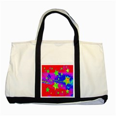 Red Background With A Stars Two Tone Tote Bag by Amaryn4rt