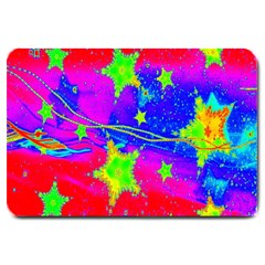 Red Background With A Stars Large Doormat  by Amaryn4rt