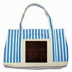 Colorful And Glowing Pixelated Pattern Striped Blue Tote Bag by Amaryn4rt