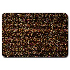 Colorful And Glowing Pixelated Pattern Large Doormat  by Amaryn4rt