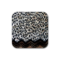 Tiger Background Fabric Animal Motifs Rubber Square Coaster (4 Pack)  by Amaryn4rt