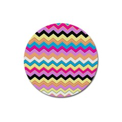 Chevrons Pattern Art Background Magnet 3  (round) by Amaryn4rt