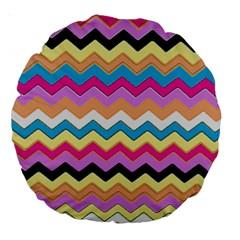 Chevrons Pattern Art Background Large 18  Premium Round Cushions by Amaryn4rt