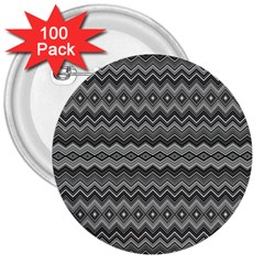 Greyscale Zig Zag 3  Buttons (100 Pack)  by Amaryn4rt