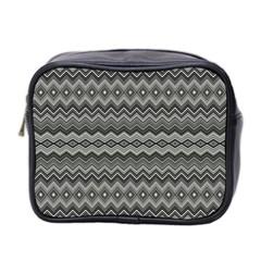 Greyscale Zig Zag Mini Toiletries Bag 2 Side by Amaryn4rt