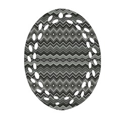 Greyscale Zig Zag Oval Filigree Ornament (two Sides) by Amaryn4rt