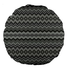 Greyscale Zig Zag Large 18  Premium Round Cushions by Amaryn4rt