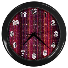 Colorful And Glowing Pixelated Pixel Pattern Wall Clocks (black) by Amaryn4rt