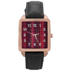 Colorful And Glowing Pixelated Pixel Pattern Rose Gold Leather Watch  by Amaryn4rt