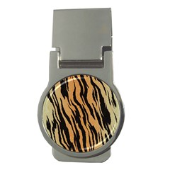 Tiger Animal Print A Completely Seamless Tile Able Background Design Pattern Money Clips (round)  by Amaryn4rt