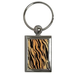 Tiger Animal Print A Completely Seamless Tile Able Background Design Pattern Key Chains (rectangle)  by Amaryn4rt