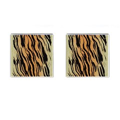 Tiger Animal Print A Completely Seamless Tile Able Background Design Pattern Cufflinks (square) by Amaryn4rt
