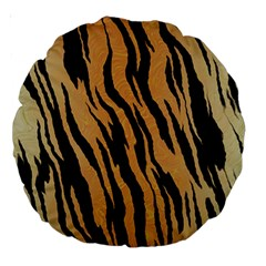 Tiger Animal Print A Completely Seamless Tile Able Background Design Pattern Large 18  Premium Round Cushions by Amaryn4rt