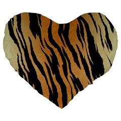 Tiger Animal Print A Completely Seamless Tile Able Background Design Pattern Large 19  Premium Heart Shape Cushions by Amaryn4rt