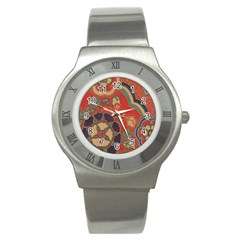 Vintage Chinese Brocade Stainless Steel Watch by Amaryn4rt
