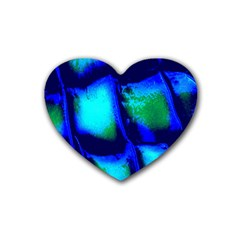 Blue Scales Pattern Background Heart Coaster (4 Pack)  by Amaryn4rt