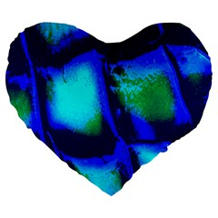 Blue Scales Pattern Background Large 19  Premium Flano Heart Shape Cushions by Amaryn4rt