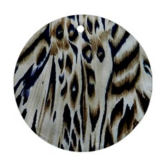 Tiger Background Fabric Animal Motifs Round Ornament (two Sides) by Amaryn4rt
