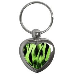 Green Tiger Background Fabric Animal Motifs Key Chains (heart)  by Amaryn4rt