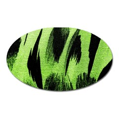 Green Tiger Background Fabric Animal Motifs Oval Magnet by Amaryn4rt