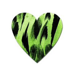Green Tiger Background Fabric Animal Motifs Heart Magnet by Amaryn4rt