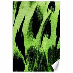 Green Tiger Background Fabric Animal Motifs Canvas 24  X 36  by Amaryn4rt