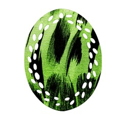 Green Tiger Background Fabric Animal Motifs Oval Filigree Ornament (two Sides) by Amaryn4rt