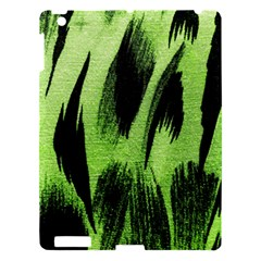 Green Tiger Background Fabric Animal Motifs Apple Ipad 3/4 Hardshell Case by Amaryn4rt